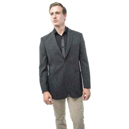Button Mens Grey and