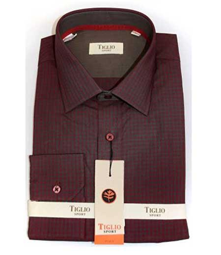 Italian Mens Burgundy Gingham