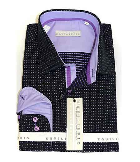 Italian Mens Black/Lavender Dotted