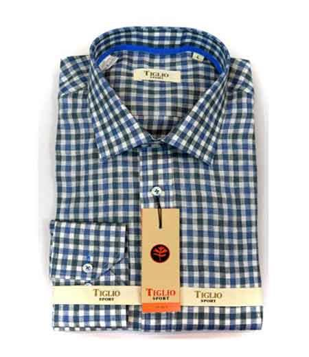 Italian Mens Checked Blue