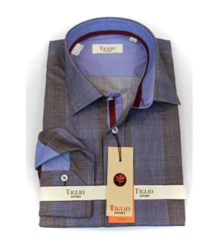 Italian Mens Lavender/Brown Button