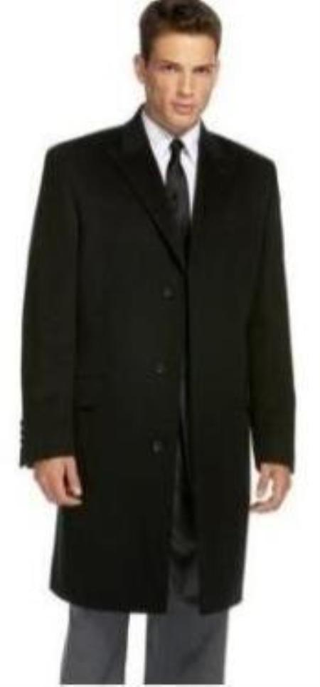 SKU#Coat777 Black Slim overcoat that offers a sleek, modern style