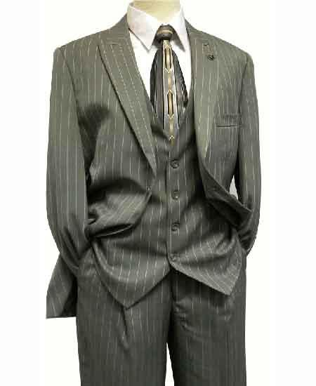 1940s Mens Clothing Stacy Adams Mens Pinstripe Mars Vested Grey Fashion Suit $160.00 AT vintagedancer.com