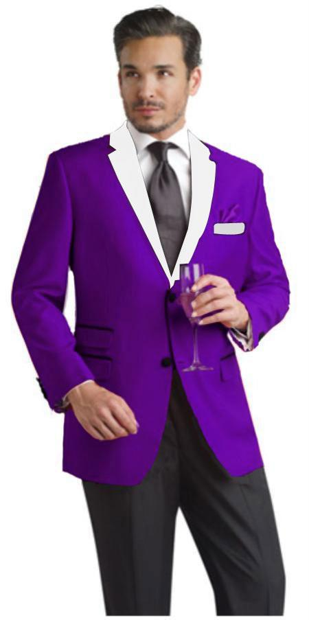 Purple And White Lapel