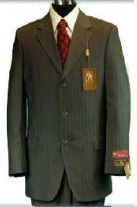 SKU#Ts28 Umo 3-Button Rich Olive Green Pinstripe Super 150s Super Fine Wool Feel Poly~Rayon premeie