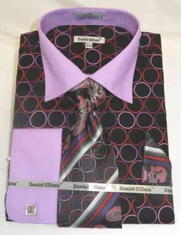 100% Cotton Bold Circle Pattern Black Lilac French Cuff Dress Shirt