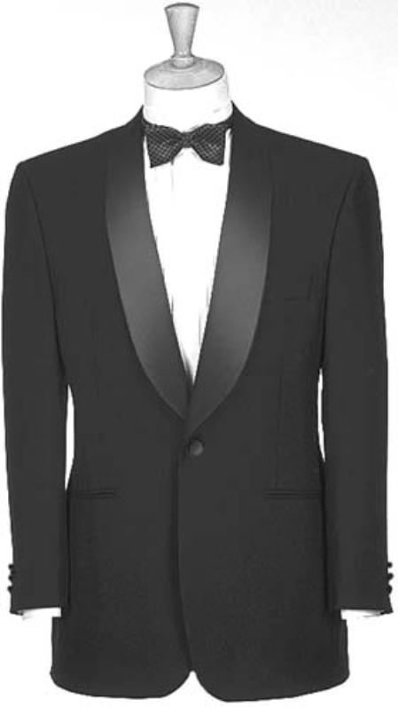 1940s Men's Formalwear Black Dinner Jacket 1 Poly 1 Button Shawl Collar $139.00 AT vintagedancer.com