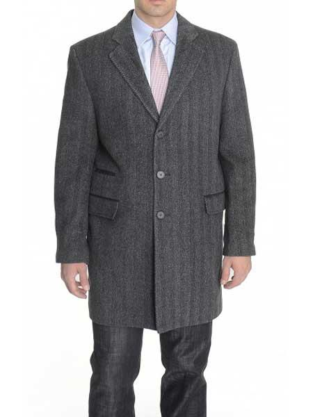 Men's Notch Lapel Herringbone 42798 Length Charcoal Gray Top Coat