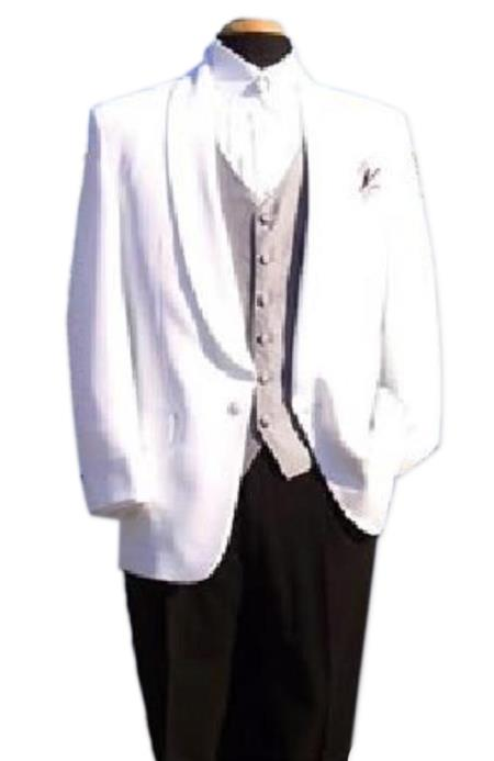 SKU#HHR1188 Snow White One-Button Front, Shawl Lapel Dinner Jacket $99 (Wholesale price $95 (12pc&UPMinimum))