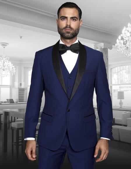 SKU#SS-9412 Teal Blue Indigo Cobalt Blue (Dark Royal) Single Button Vested Black Lapel Two Toned Blue Tuxedo Shawl Collar