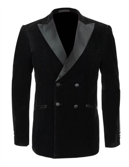 1920s Men's Clothing Black Wedding Grooms Tuxedo Dinner Casual Velvet Coat Jacket Blazer $390.00 AT vintagedancer.com