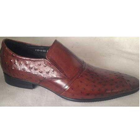 Embossed Leather Brown Pointy