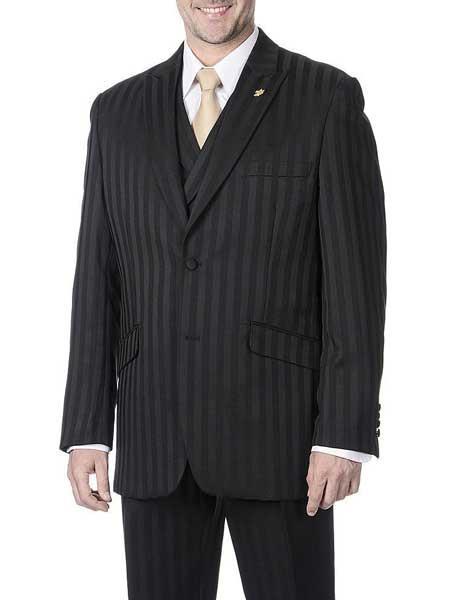 3 Piece Peak Lapel Black Striped Single Breasted Polyester Vest Suit