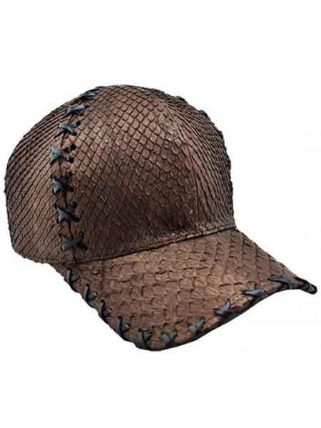 Brown Ostrich Alligator Exotic Skin Baseball Cap CACHUCHA DE COCODRILO