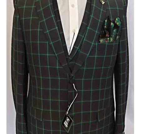 2 Button Green Vested