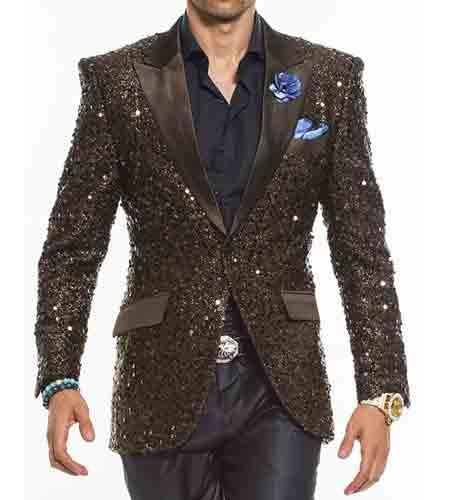 Brown 2 Button Sequins