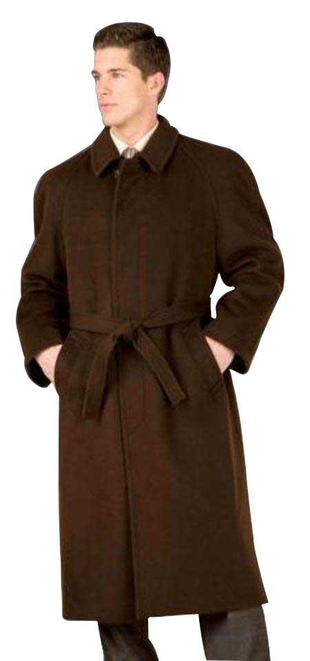 SKU#Florence 48 inch belted Wool Topcoat ~ Overcoat Four Button Single Breasted Coat With An 18 Inch