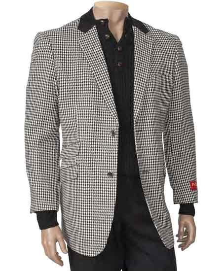 1970s Men's Suits History | Sport Coats & Tuxedos BlackWhite Single Breasted Peal Lapel Houndstooth Fashion Blazer $139.00 AT vintagedancer.com