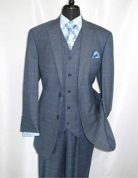 Apollo King Wool 2 On Navy Blue Plaid Notch Lapel Vested Suit