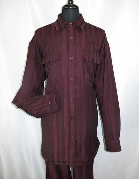 7 Buttons Burgundy Long