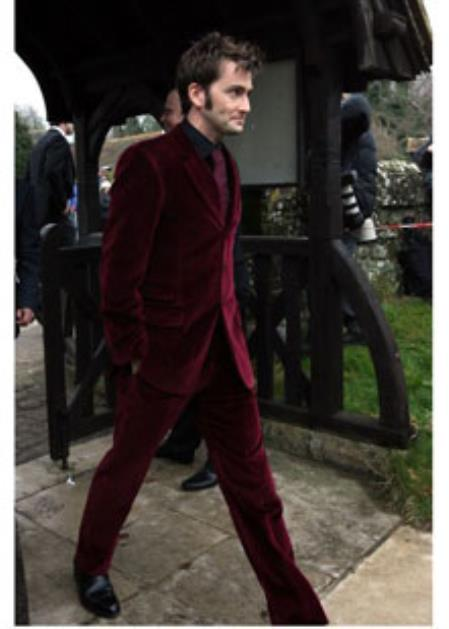 Burgundy Velvet Suit Jacket