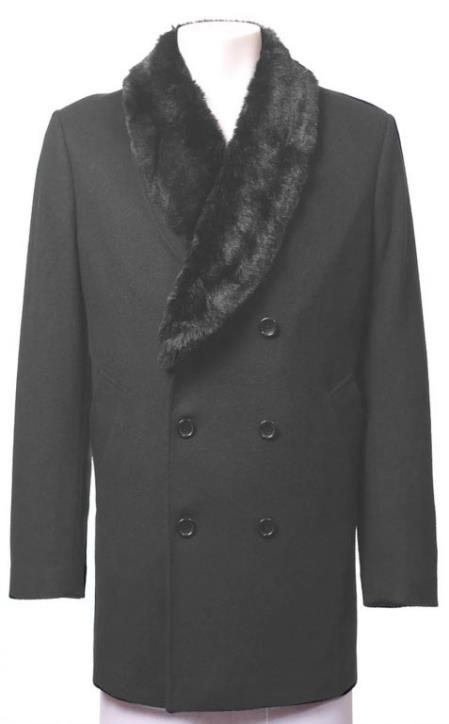 Charcoal Wool Suit Collar