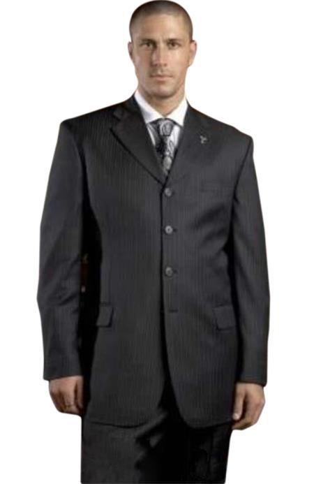 Buy SM2227 Black Pinstripe ~ Stripe 4 Buttons Suit Super 150's Wool Pleated Pants Notch Lapel