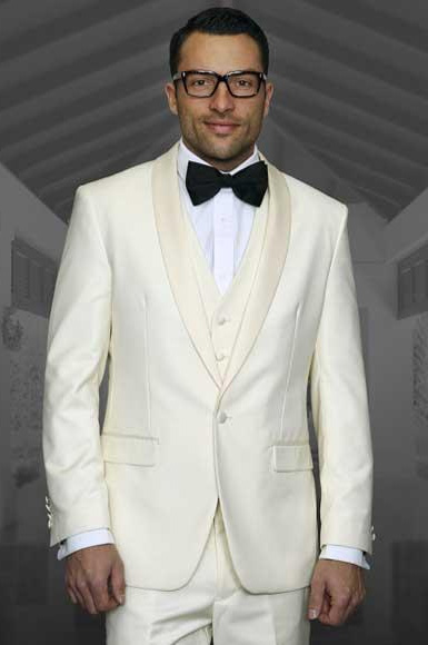 1 Button Ivory/Cream/Off White Tuxedo Shawl Lapel Vested Wool Suit