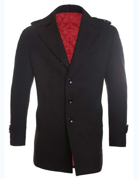 Mens Black Wool Blend 42798 Car coat (short topcoat)