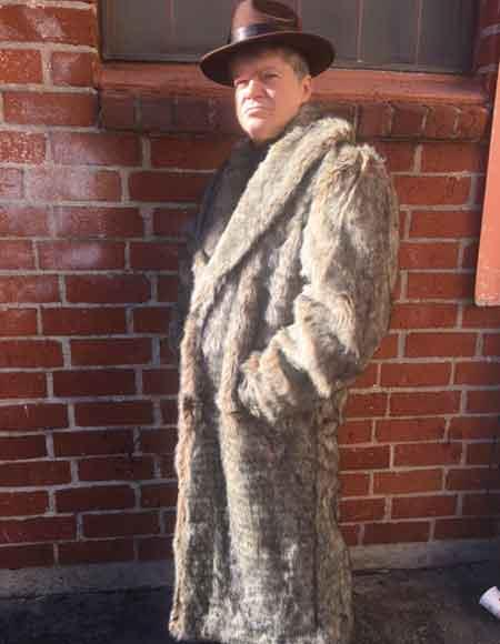 1920s Mens Coats & Jackets History Long  Faux Fur Coat Full Length OvercoatTopcoat CoffeeBrownTan $200.00 AT vintagedancer.com