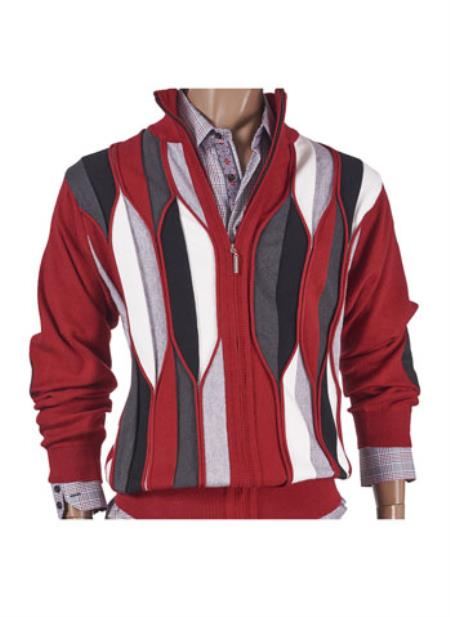 Mens Red Geo Stripe