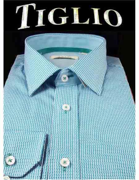 Mens Blue Patterned Italian