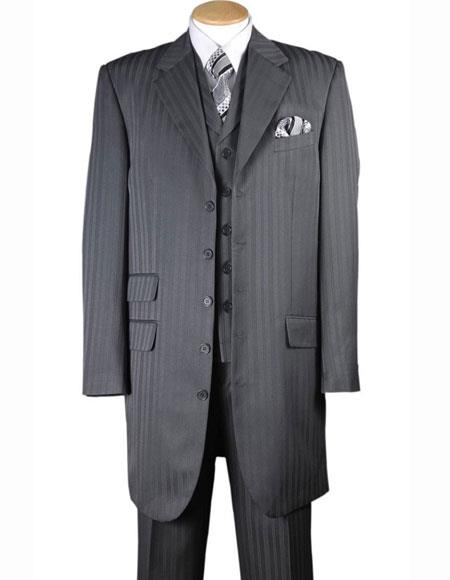 4 Buttons Notch Lapel Tonal Striped Three Piece Vested Gray Zoot Suit