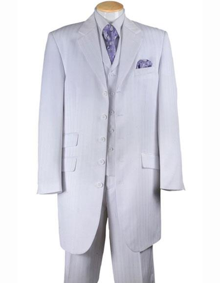 3 Piece Vested White 4 Buttons Notch Lapel Tonal Striped Zoot Suit