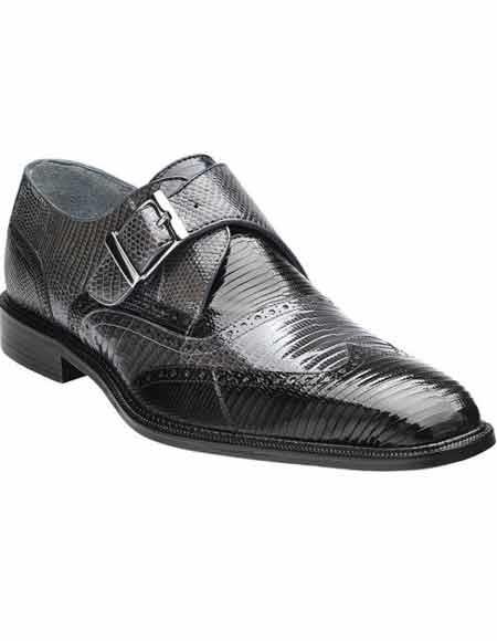 Mens Black/Grey Genuine Lizard