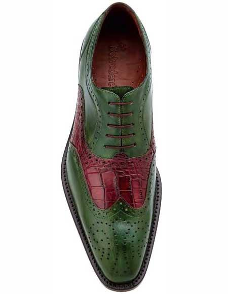 Mens Hand Painted Emerald/Wine
