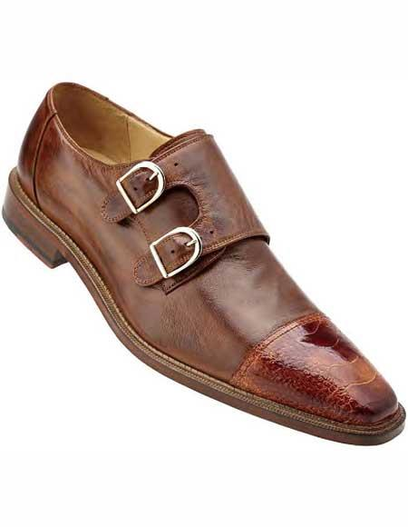 Mens Ostrich Trim Brandy