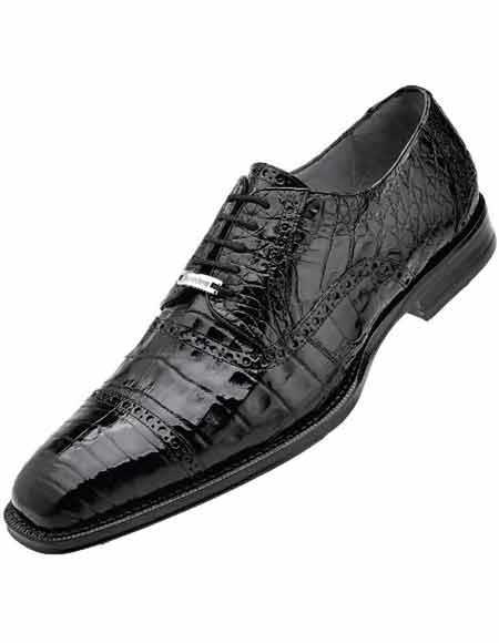 Mens Black Leather Crocodile