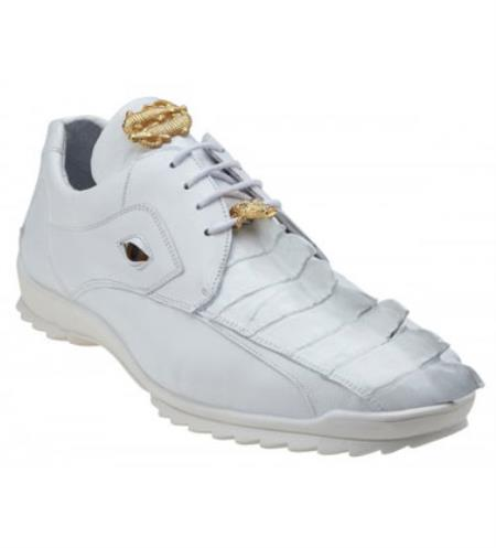 Mens White Genuine Hornback