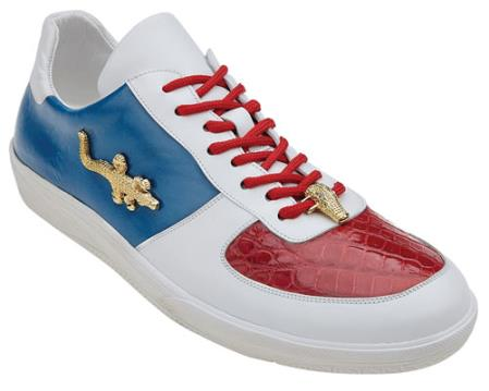 Shoes Red White Crocodile