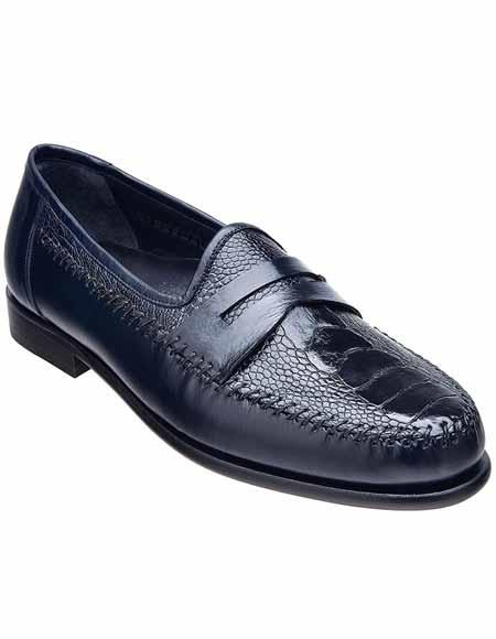 Mens Leather Blue Ostrich
