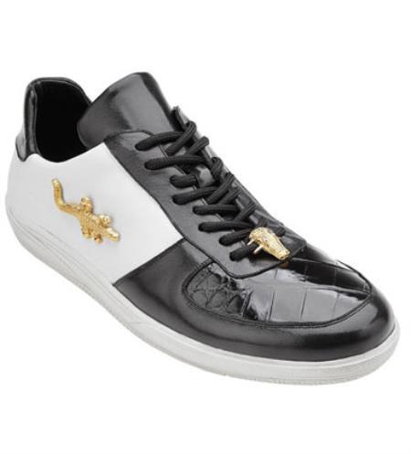 Shoes Black White Crocodile