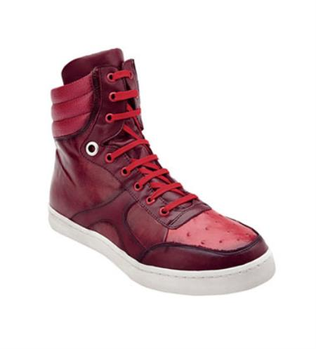 Mens Red Ostrich Hi