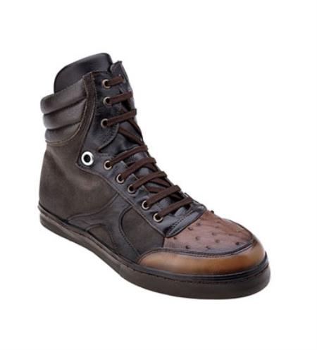 Mens Chocolate Ostrich Hi