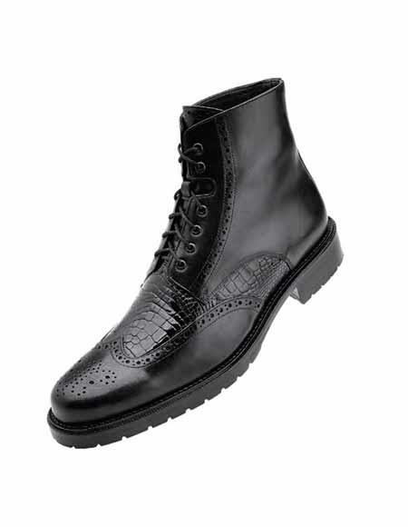 Mens Black Shiny Alligator