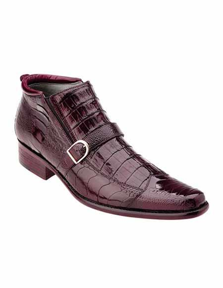 Mens Burgundy Exotic Crocodile