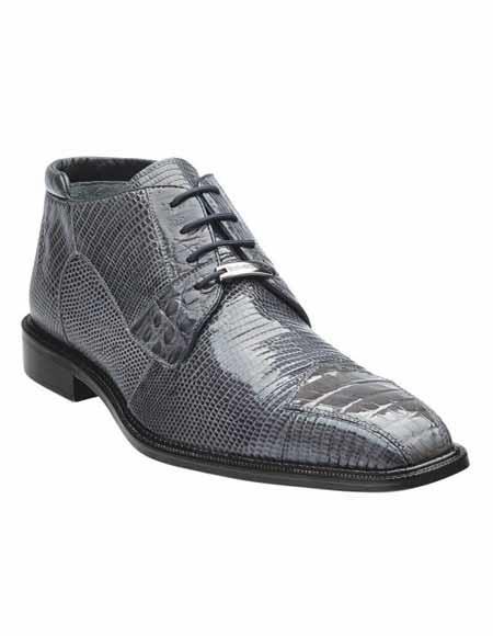 Mens Italian Leather Gray