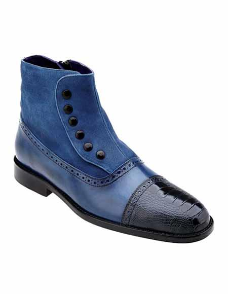 Mens Leather Navy Exotic