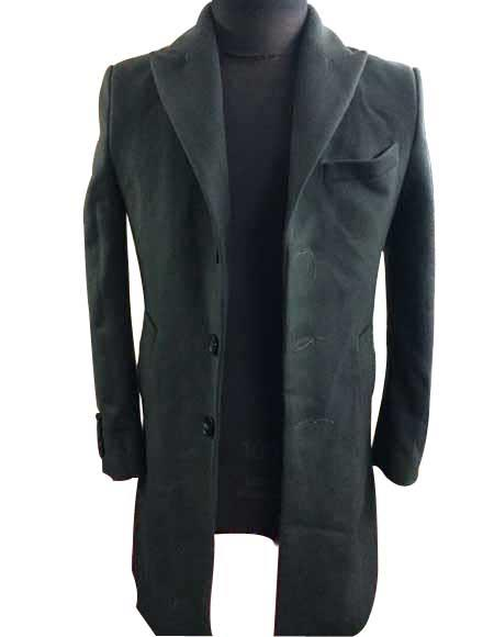Mens Dress Coat Three Buttons Olive Green Single Breasted Wool Overcoat available notch lapel