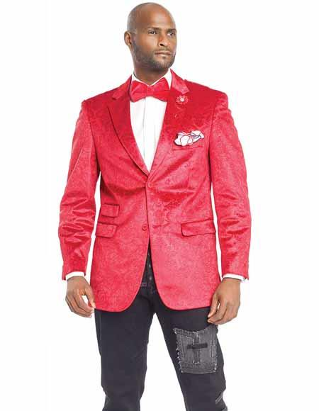 Velvet Red Notch Lapel